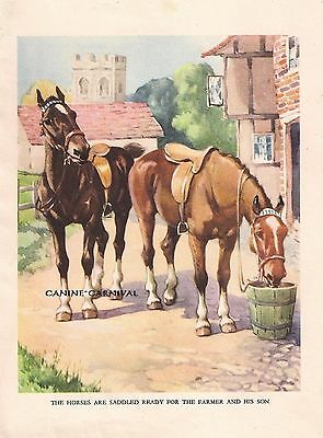 HORSES READY TO RIDE English Tack 1930s CHILDRENS Vintage Art Print A.E KENNEDY