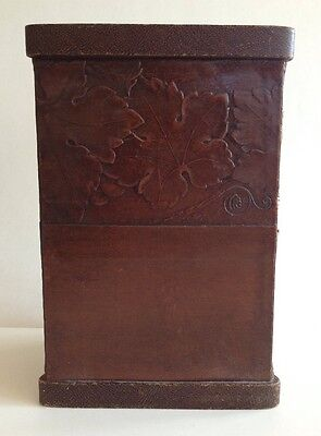Antique Tooled Leather Box Bin Triangular Arts & Crafts Grape Leaves Container
