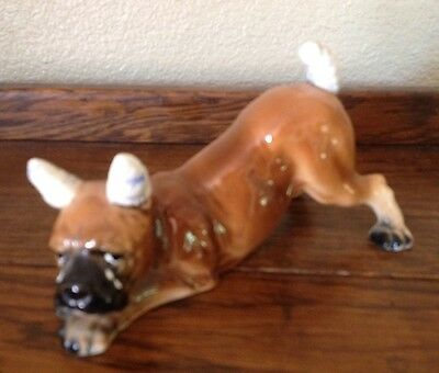 Vintage LEFTON Crying BOXER Dog with Cropped Ears & Tail Porcelain Figurine