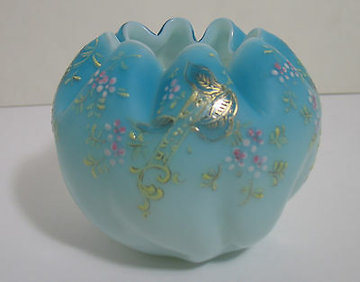 Mt. Washington Rose Bowl Blue with Enameled Flowers & Gold Accents