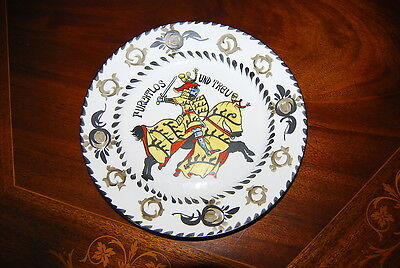 Superb Large Dresden Deruta Style Hand Painted Heraldic  Cabinet Wall Plate #1