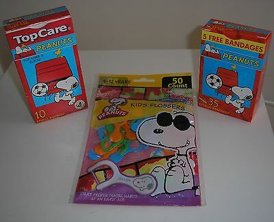 Peanuts Snoopy Band-Aid and Kid's Flosser Set of 3.