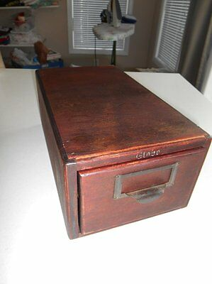 Antique Globe Library Card Catalog Index Cabinet 1 Drawer