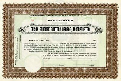 19__ Edison Storage Battery Garage Inc Stock Certificate