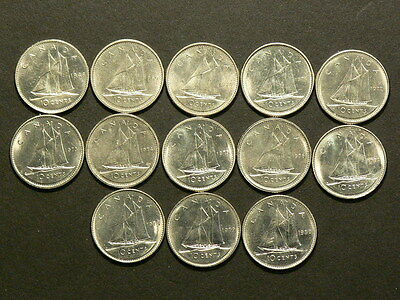 Canada  Lot Of 13 Dimes 10 Cents 1968 to 1980  Unc. From Mint Rolls #G5784