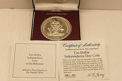 1975 Bahamas 10th Anniversary Independence $10 Proof Coin in Box with COA