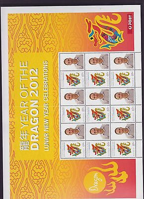 2012 Year Dragon Lunar New Year Stamp Sheetlet Australia Post Christmas Island