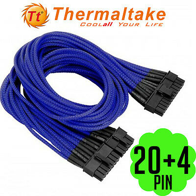 Thermaltake Individually Sleeved 20+4Pin ATX Power Motherboard PC Cable Blue Red