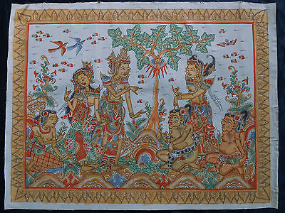 Old Traditional Kamasan Balinese Religious Mythical Painting On Cloth