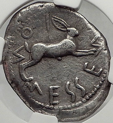 MESSANA in SICILY 480BC Ancient Silver Greek TETRADRACHM Coin RABBIT NGC XF*
