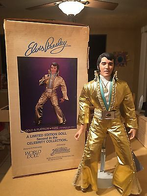 Elvis Presley Collector's Limited Edition Gold and Platinum World Doll Porcelain