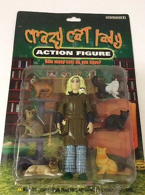 CRAZY CAT LADY Action Figure - NEW! with CAT LADY + 6  CATS - Accoutrements 2004
