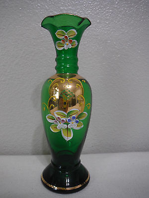 Vintage Green Vase, A Hand Painted Art Glass Vase With Enamel Flowers And Gold