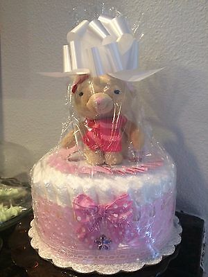 One Tier Pink Diaper Cake For Baby Girl/Baby Shower Gift/Baby Shower Centerpiece