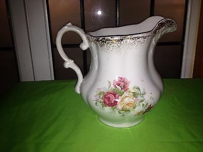 """ANTIQUE 1869-1883 NEW JERSEY CHINA POTTERY Co Vintage Red Yellow Rose Pitcher 8"""""""