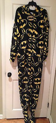 Batman Jumpin Jammerz Adult Footed One Piece Pajamas - Adult Large