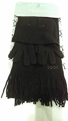 New JACLYN SMITH women's ladies girls 3 Piece Gift Set Hat Gloves scarf  Black