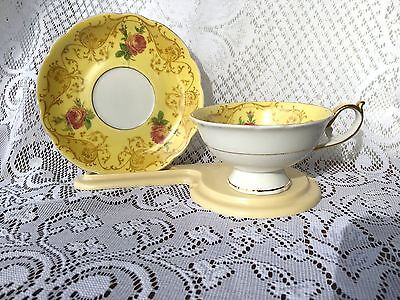 Royal Bayreuth 'US Zone' yellow/gold/roses Tea Cup & Saucer (677)