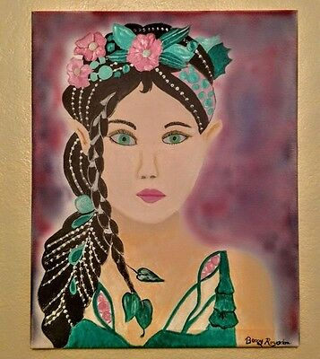 Elven Queen Acrylic Painting. Original, done on 16x20 canvas.