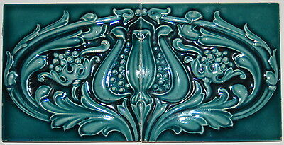 "(2) Antique Blue Floral Art Nouveau Majolica Tile Matching Set-  6"" x 12 "" total"