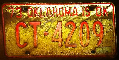 Vintage 1973 Oklahoma License plate Barn Find Rusty FAST FREE SHIPPING