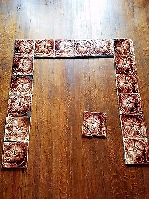 Full Antique Fireplace Surround Tiles Complete Set Red White Floral Ceramic Tile