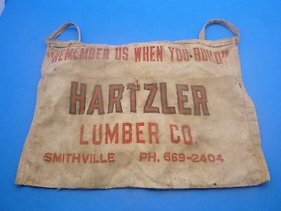 Vintage Advertising Hartzler Lumber Co Carpenters Nail Tool Apron Smithville Oh