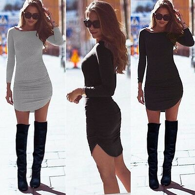 Women Casual Summer Long Sleeve Party Evening Cocktail Short Mini Dress