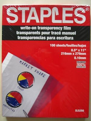 """Staples SL5260 Write-on Transparency Film 100 Sheets - 8.5"""" X 11""""  FREE SHIPPING"""