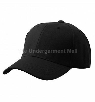 Baseball Cap Plain Black Loop Adjustable Solid Hat Polo Style One Size New