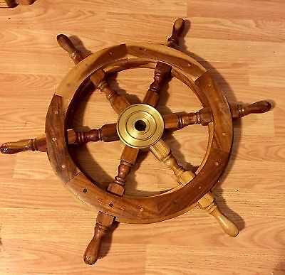 Nautical ship steering WHEEL decor boat solid wood & brass hub