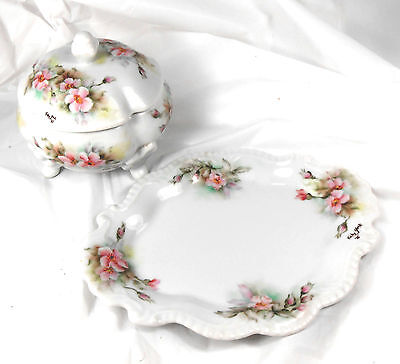 Antique1885 Signed Hand Painted Porcelain POWDER JAR & TRAY Pink Flowers Signed
