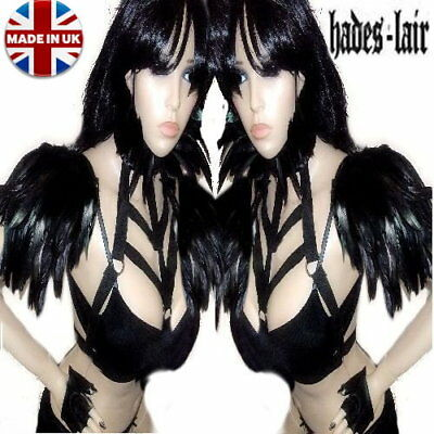 Hades Jet Black Feather Epaulettes Wings Shoulder Pads Goth Burlesque Steampunk