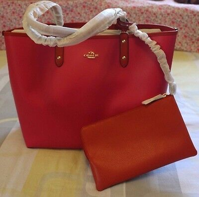 c087fc909 NEW Coach Reversable 2 In 1 City Tote + Pouch Caemine/Pink F36609 $350