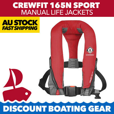 2x RED CREWSAVER PFD Crewfit 165N Inflatable Manual Lifejacket Boating