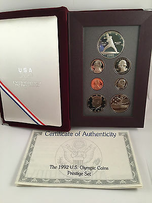 1992 US Olympic Coins Prestige Set with COA with silver dollar