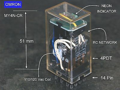 OMRON MY4 N CR 120 Vac Coil  4PDT   Built in RC Network with NEON indicator+BASE