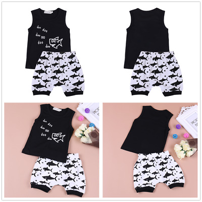 Newborn Baby Boys Girl Summer Cotton Clothes Outfit Set T-shirt Tops+Short Pants