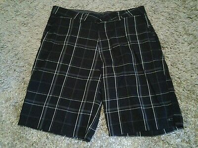 Mens Oneill casual shorts black gray plaid size 34