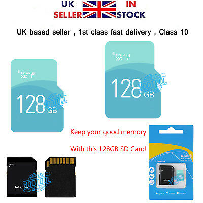 Micro SD / TF Card Class 10 TF Flash Memory SDHC  SDXC - 128G - With Adapter UK