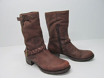 NICOLE  JEST BROWN DISTRESSED LEATHER MID-CALF MOTORCYCLE BOOTS Sz WOMEN'S 9.5 M