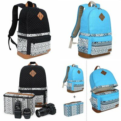 """Lady's Canvas DSLR Camera Bag Padding Case Travel Backpack For Canon 15"""" Laptop"""
