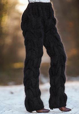 Hand knitted pants SUPERTANYA black mohair THICK trousers fuzzy soft leg warmers