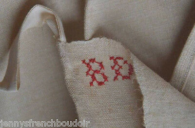 Antique French 19th century unused homespun French torchon, BD monogram
