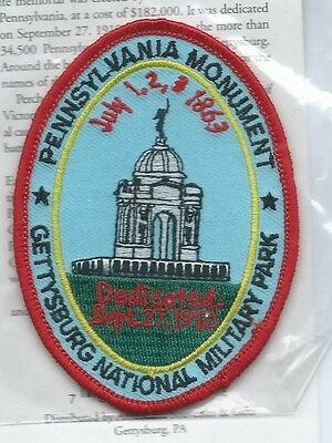 Gettysburg National Military Park PA Monument patch 3-1/2 X 2-5/8 #1536