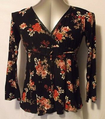 Two Beautiful Black & Floral Size S Long Sleeve Stretchy Maternity Blouse Top