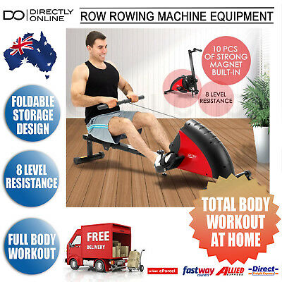 Row Rowing Machine Fitness Gym Exercise Equipment Resistance Workout Rower