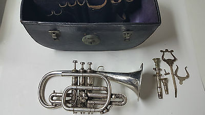 "Beautiful Vintage Hawkes & Son Clippertone Trumpet - w/ Case ""4th Batt Man Reg"""