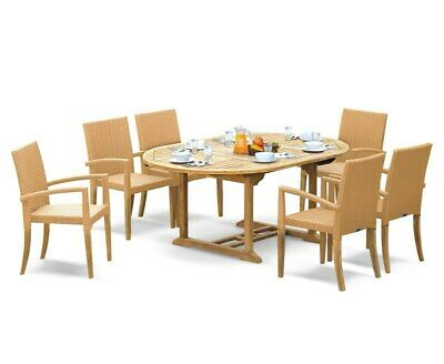 St Moritz Teak Extending Garden Table and Rattan Stacking Chairs - Dining Set