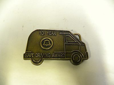 Vintage Bell System Telephone 10 Year Safe Driving Award Belt Buckle (A5)